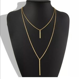 Jewelry - Gold Tone Double Vertical Bar Necklace